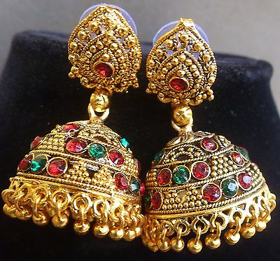 South Indian Bridal Antique Gold Plated Green Red CZ Stone Jhumka Earrings Set