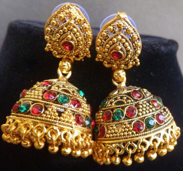 South Indian Bridal Antique Gold Plated Green Red CZ Stone Jhumka Earrings Set//