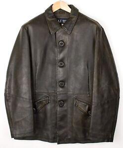 Armani-Jeans-Herren-PVC-Wolle-Kragen-Jacke-Mantel-Groesse-US-3-2-Eu-46-AVZ663