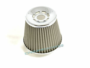 "SILVER UNIVERSAL 3/"" CONICAL AIR FILTER FOR NISSAN SHORT//COLD AIR INTAKE"