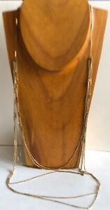 Vintage 1928 Gold Tone Link & Chain Long Layered Multi Strand Necklace