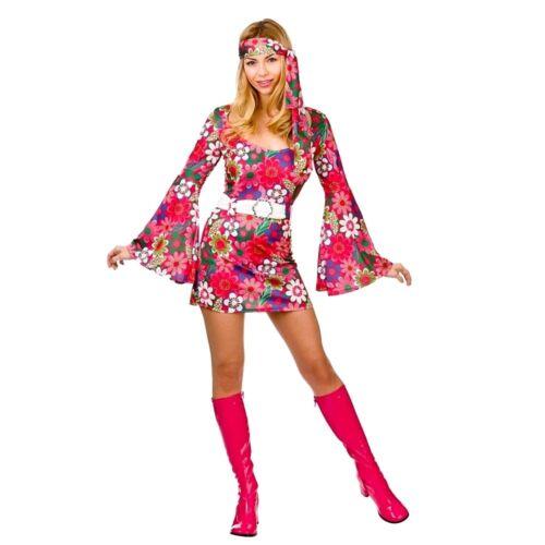 Adult RETRO GIRL Flower Power Fancy Dress 60s Ladies Go Go Hippy Costume UK 6-24