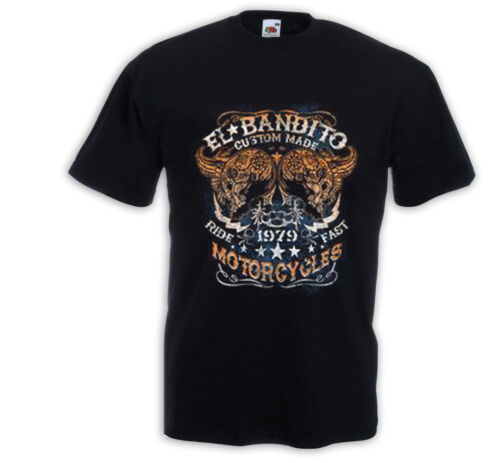 Biker T-Shirt El Bandito Motorcycle  Mexican Skull V8 USA