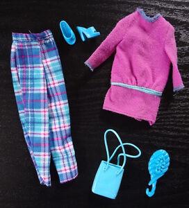Barbie Doll Accessories Clothes Pants Plaid Purple Top Blue Open Toe Shoes Purse