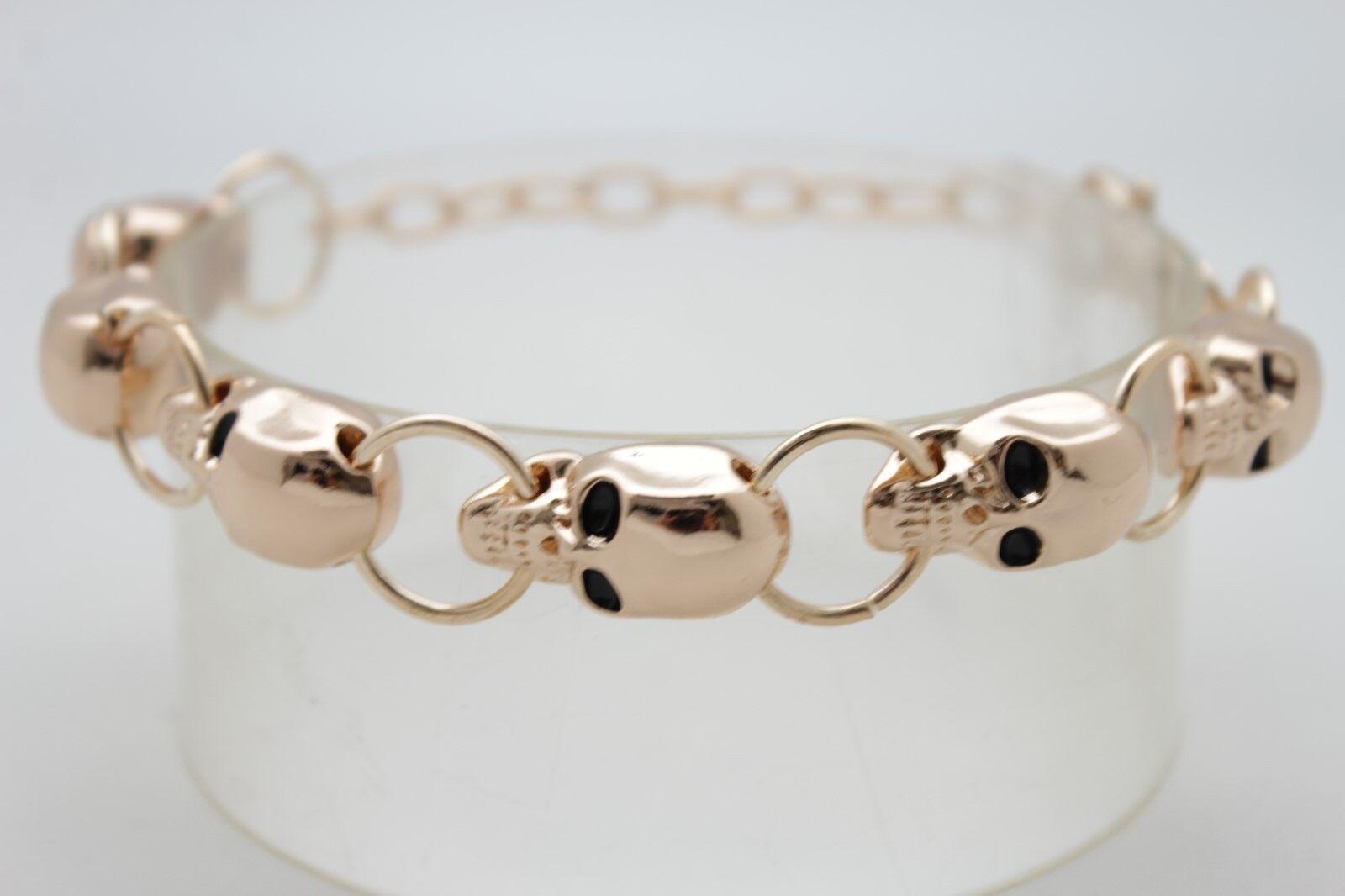Women 1 Boot Bracelet Gold Metal Chain Bling Anklet Charm High Heel Biker Skulls