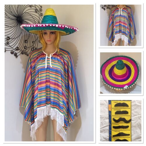 Mens Mexican Poncho And Rainbow Sombrero Hat Wild West Cow Boy Adult Bandit