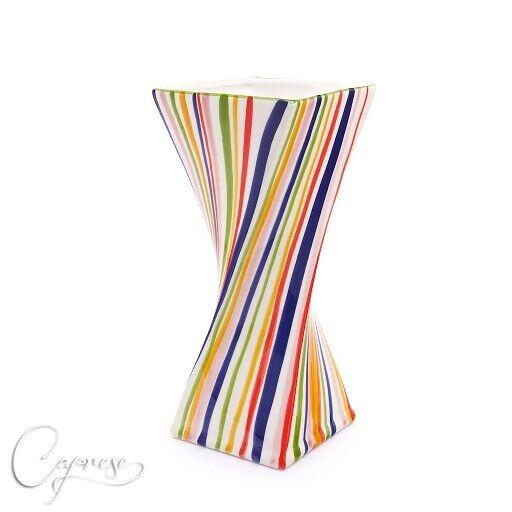 Bassano ceramica vaso tavolo vaso bel motivo strisce 31 cm di altezza NUOVO DA ITALIA