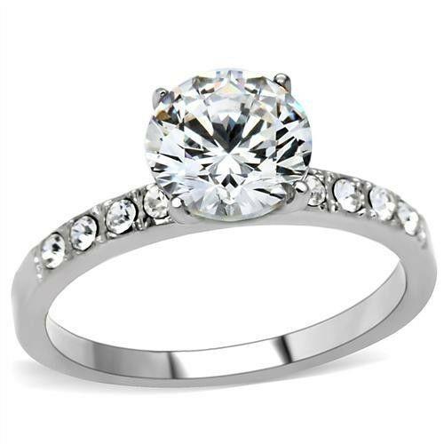 Stainless Steel Solitaire Round CZ /& Accents Promise Wedding Engagement  Ring