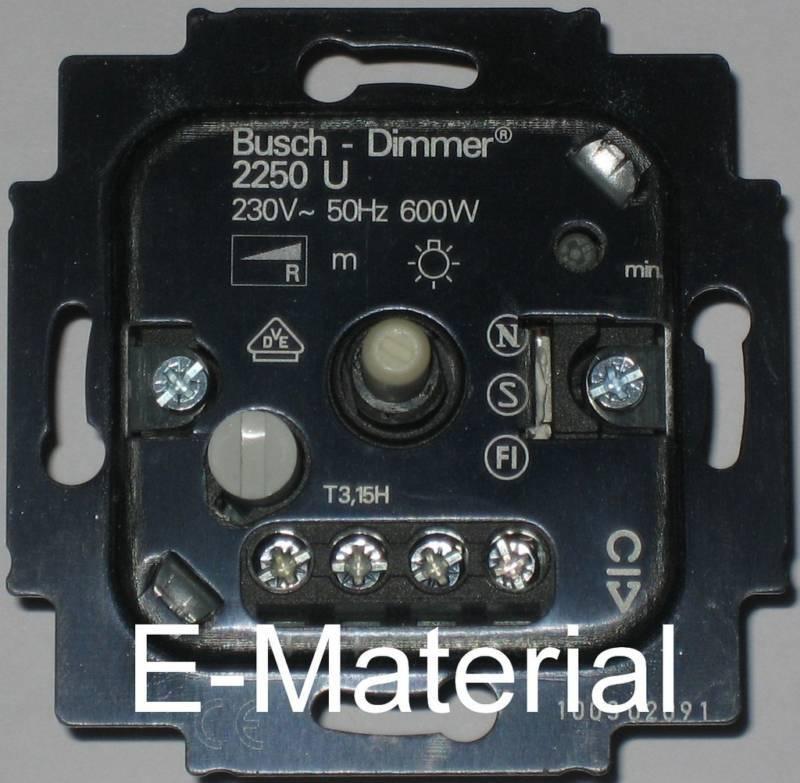 Dimmer Busch Jaeger 2250 U  Drehdimmer 60-600W für 230V Glüh- und  Halogenlampen