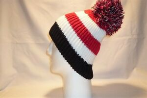 Image is loading LUXURY-RED-WHITE-BLACK-STRIPED-BOBBLE-HAT-BEANIE- 4500031ba03