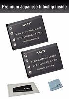 Wt-li42bk2 Wt Battery (2pack) For Olympus 550wp,700,710,720sw,725sw,730,740,750,