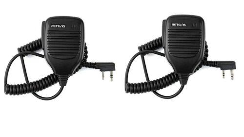 2 x Retevis 2 Pin Speaker Mic for Baofeng UV-5R Retevis H-777 RT21 RT22 RT27