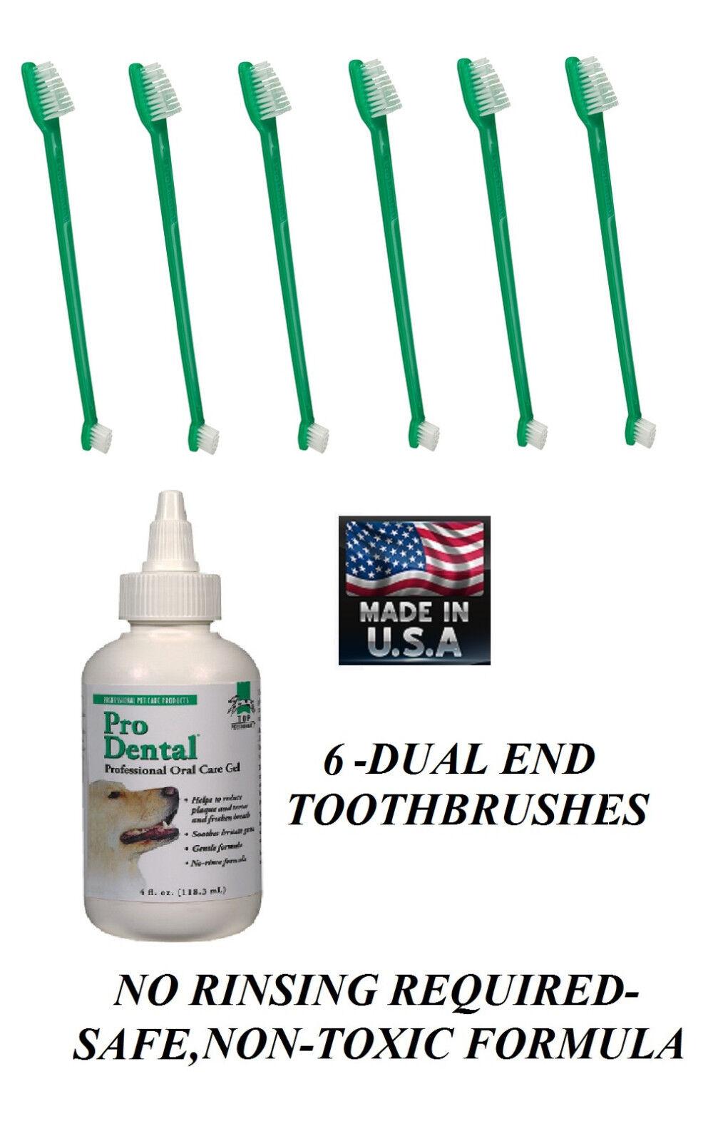 Pet Oral Care Dental GEL TOOTHPASTE&6-TOOTHBRUSH rotuces rotuces rotuces Plaque Tartar Odor Dog 322f66