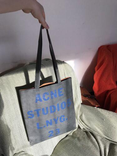 Blue Grey Writing Acne Tote Bag Studios With Leather xnqYRwS
