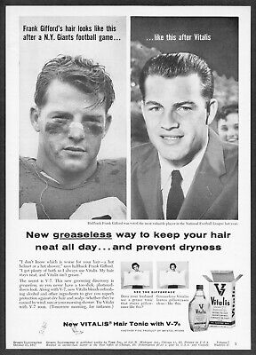 vitalis hair tonic vintage 1957 new york giants frank gifford photo vitalis hair