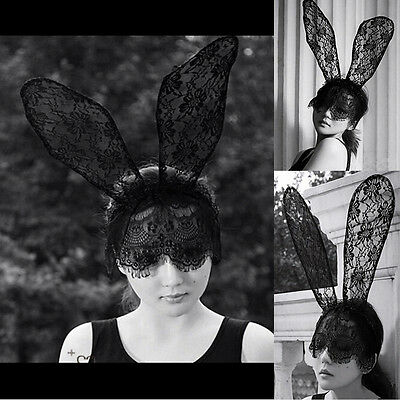 Sexy Bunny Long Ear Lace Bob Veil Mask Headband Headwrap Halloween Party Costume