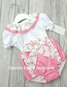 Beautiful Baby Girl Spanish Style 2 Piece Frill Collar and Frill Jam Pant Set
