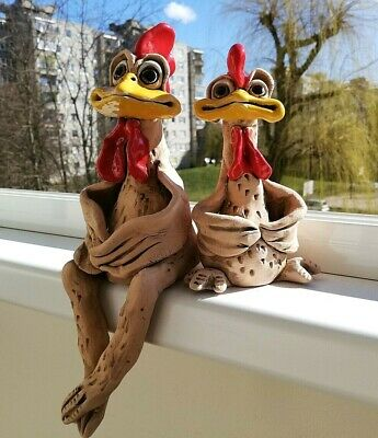 CHICKEN /& ROOSTER Couple Nice Hand Made Ceramic Funny Figurine Easter