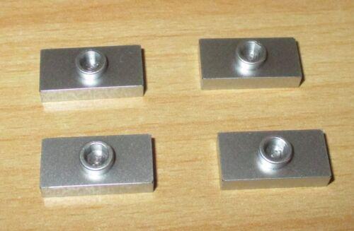 Lego Basic - Fliese mit Noppe 1x2 in Silber Metallic Farbe - 4 Stück - selten