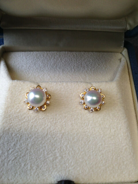 MIKIMOTO ELEGANCE COLLECTION AKOYA PEARL DIAMOND EARRINGS WEDDING AA 7.0 x 7.5mm