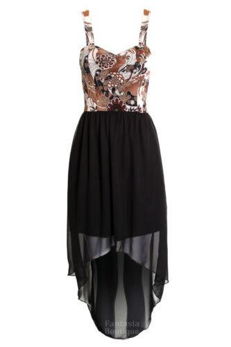 Womens Leopard Stripe Polka Dot Zip Fishtail Chiffon Skirt Ladies Maxi Dress