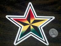 Socal Fatal Nofear 5 Rasta Star Sticker Red Yellow Green Window Decal 12.7 Cm