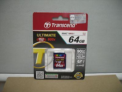 Brand Transcend 64GB 600x Class 10 SDXC UHS-I Memory Card -TS64GSDXC10U1