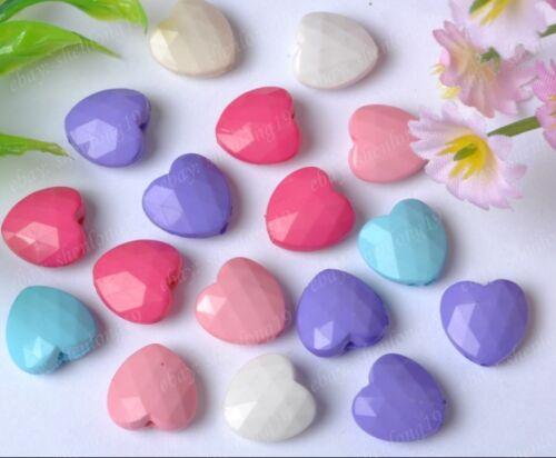 50 piezas Acrílico Combinación De Colores Suelto Forma De Corazón Cuentas 11MM