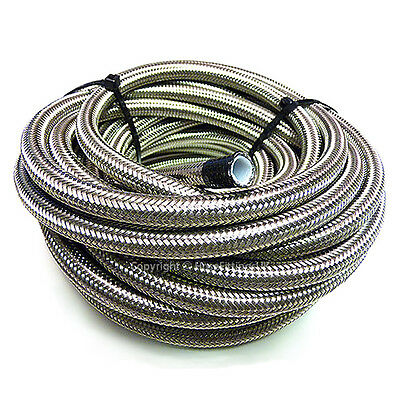 AN-8 AN8 13/32 10MM Stainless Steel Braided PTFE Fuel Hose Pipe 1/2 Metre