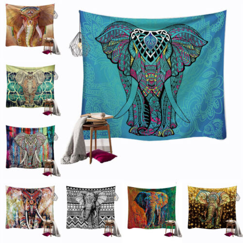 Indian Elephant Tapestry Wall Hanging Hippie Bohemian Style Blanket Wall Decor