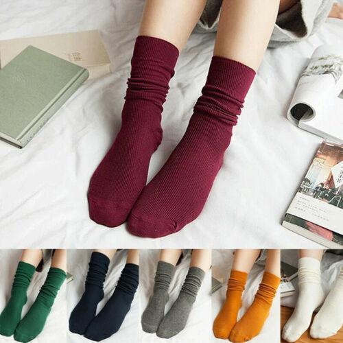 Women Spring Fall Japanese Soft Casual Cotton Thin Mid-Calf Ankle Solid Socks US