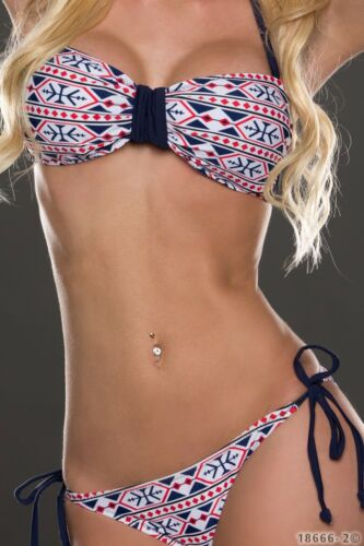 Damen Strand Bikini Set Push Up Bademode Bandage 2tgl gepolstert