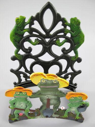 Schlauchhalter aus Gusseisen mit Fröschen als Gärtner 24 x 15 x 32cm Antikstil