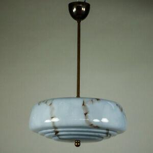 Art-Deco-Stab-Pendel-Leuchte-Marmor-Glas-Schirm-blau-Haenge-Lampe-marmoriert-40er