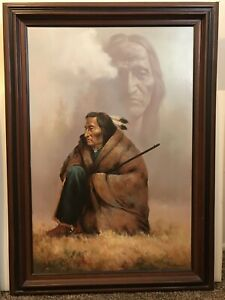 42-TROY-DENTON-MASTERWORK-VTG-OIL-PAINTING-NATIVE-AMERICAN-SUBJECT-ON-CANVAS