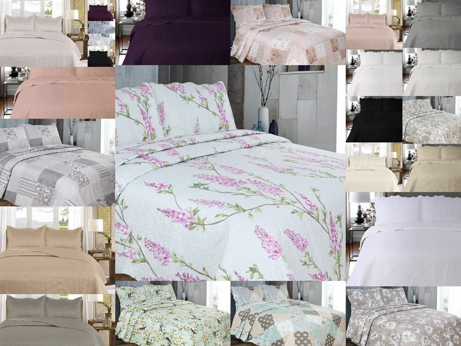 Multi Designs Luxury Bed Spreads Bed Throws With Pair of Mathcing Pillowcases