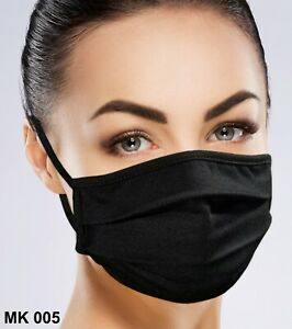 Face Mask Black Facemask Washable Reusable With Filter Pocket Ebay