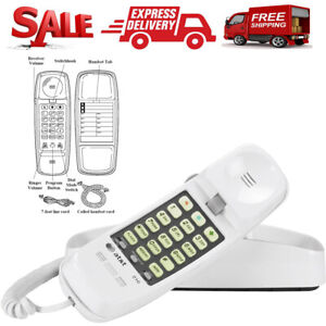 AT-amp-T-Telephone-Push-Button-Corded-Desk-Wall-Mount-Home-Trimline-Phone-White