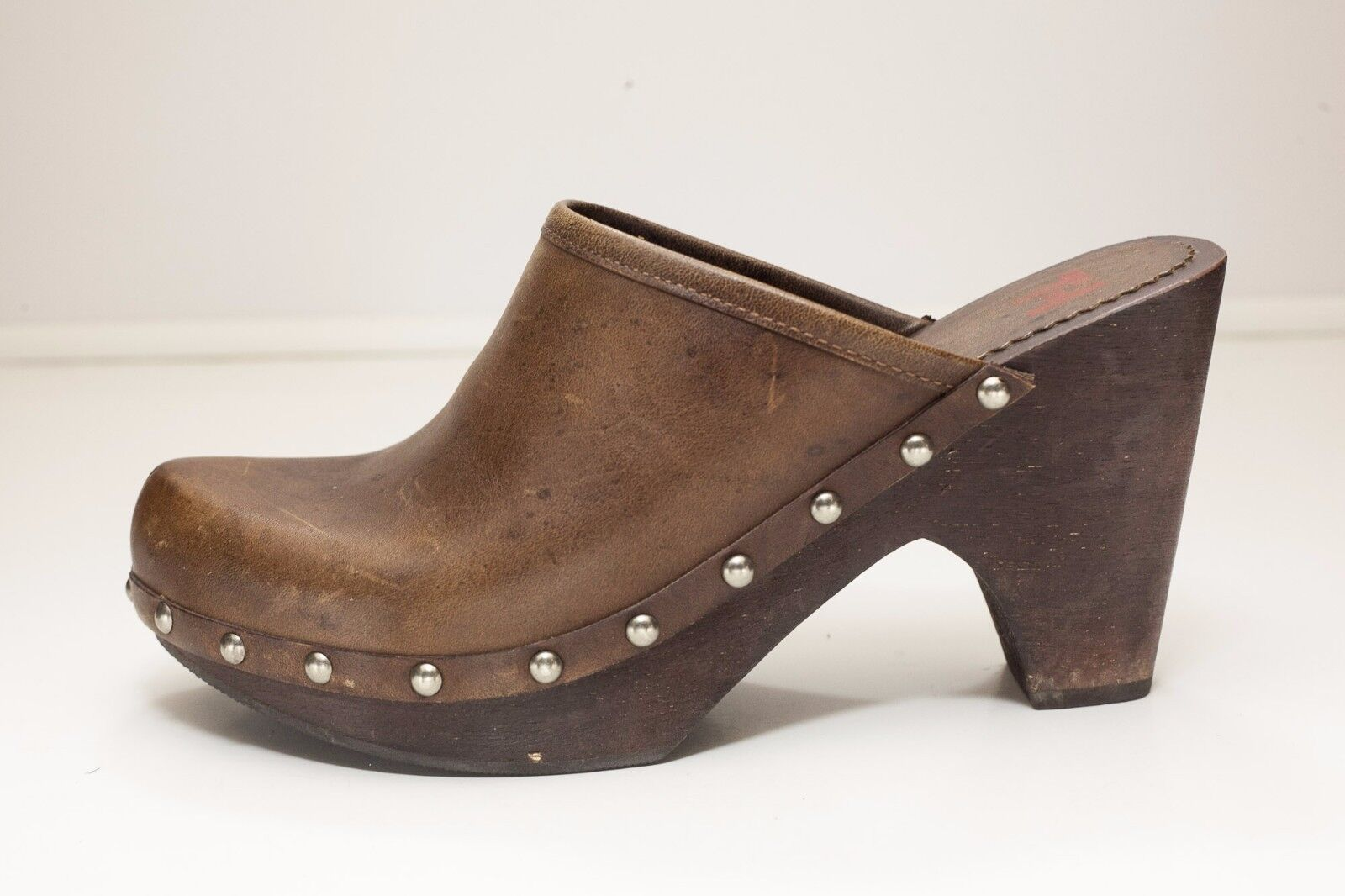 Wood Studded 8 Brown Mules