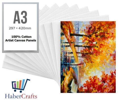 A3 Artist Canvas Boards Primed Panel Acrylic Oil Painting 100/% Cotton