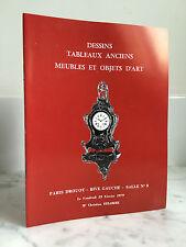 Catalogue de vente Dessins Tableaux anciens meubles et objet d'Art 1979