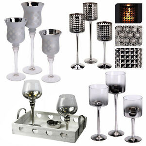 3er set hoch teelicht stiel glas kerzenhalter hochzeit weihnachten ebay. Black Bedroom Furniture Sets. Home Design Ideas