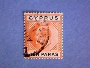 Cyprus-1906-KEVII-10pa-Orange-amp-Green-SG61-Wmk-Mult-Crown-CA-P14-Used
