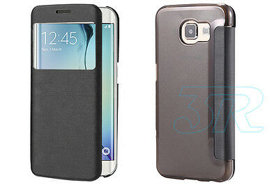 Matte Transparent PC Flip View Cover for Samsung Galaxy S6 & S6 Edge Case