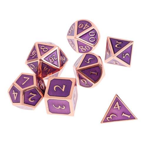 7PCS//Set Multi-sided Metal Dice TRPG Games   D4-D20 Dices