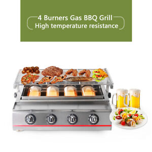4Burner-LPG-Gas-BBQ-Grill-Outdoor-Barbeque-Picnic-Smokeless-Tabletop-Charbroiler