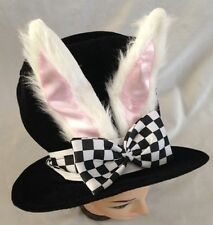 """Black 9"""" Costume Top Hat With White Bunny Ears & Bow - One Size Fits Most"""
