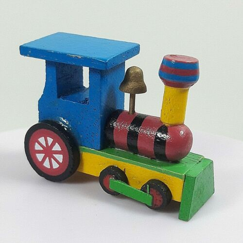 Wooden Vintage Train Toy Car Handmade Craft Miniature Dollhouse Hand Paint Gift