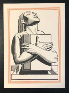 Rockwell-Kent-ex-Libris-Bookplate-Art-Deco-Woman-with-Book-Unused-1930s