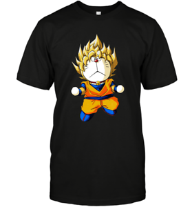 Doraemon Cosplays Son Goku Parody Cute Super Saiyan DBZ Anime Black T-Shirt